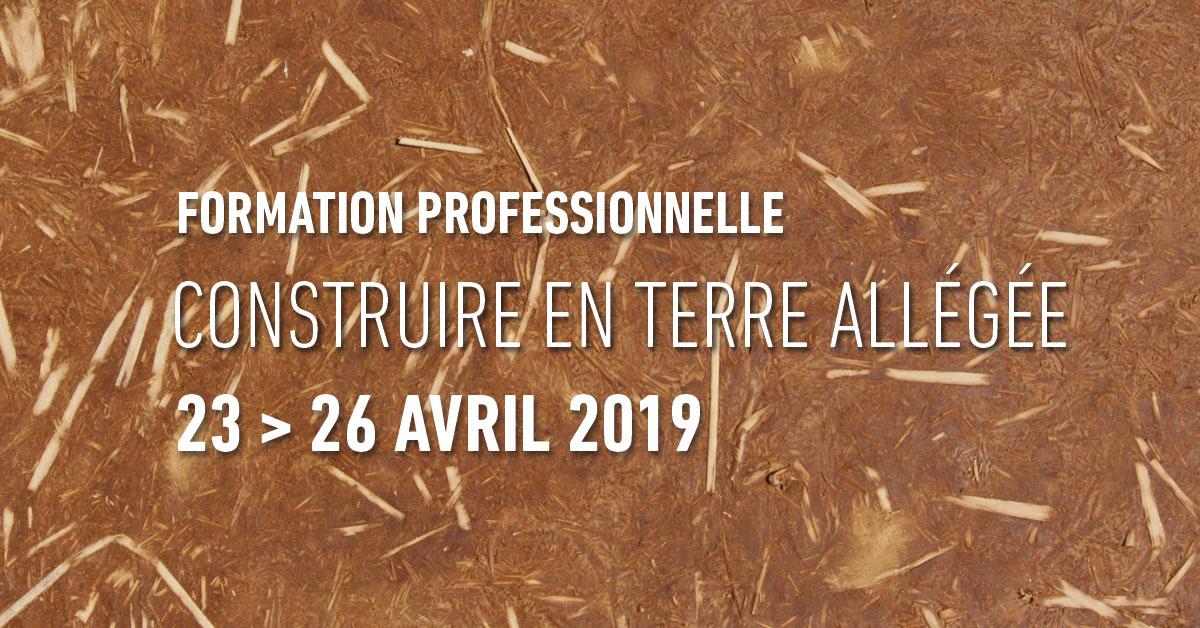 Formation professionnelle construire en terre allégée                     par amàco du 23 au 26 avril 2019